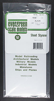 Evergreen #9040 .040'' Thick Styrene Sheet - 2 sheets