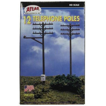 Atlas HO scale 12 telephone poles 775