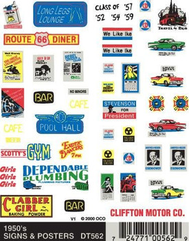 Woodland Scenics dry transfer decals 1950's signs & posters DT562
