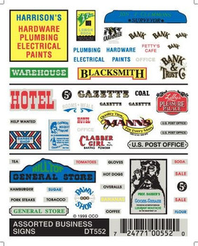 Woodland Scenics Dry Transfer Decals Assorted Business Signs #DT552
