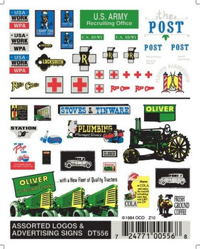 Woodland Scenics dry transfer decals assorted logos & advertising signs DT556