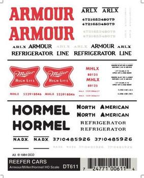 Woodland Scenics dry transfer decals reefer cars Armour/Miller/Hormel HO DT611