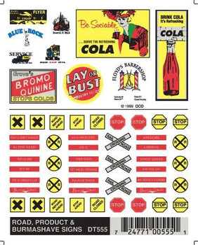 Woodland Scenics Dry Transfer Decals Road, Product & Burma-Shave Signs #DT555