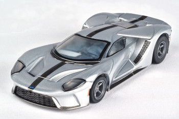 AFX Mega-G+ Ford GT silver with black stripes HO scale slot car 22012