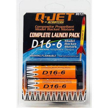 Q-Jet by AeroTech D16-6 composite propellant model rocket motors 6121