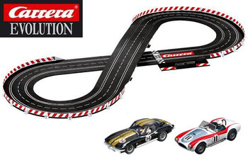 Carrera Evolution Fast Classics II track layout with Corvette Sting Ray and Shelby Cobra 289 1/32 slot cars