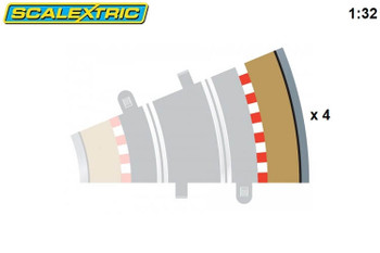 Scalextric radius 2 22.5 degree outer curve border C8239