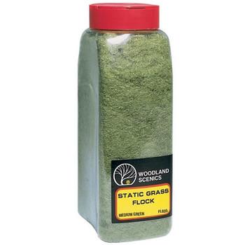Woodland Scenics medium green static grass flock with shaker FL635