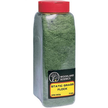 Woodland Scenics dark green static grass flock with shaker FL636