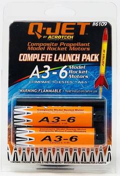 Q-Jet by AeroTech A3-6 composite propellant model rocket motors 6109