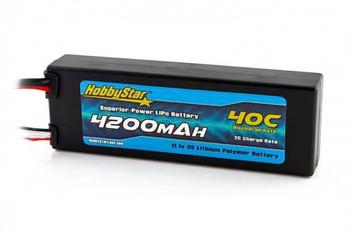 HobbyStar 3S 11.1V 4200mAh 40C hard case LiPo battery