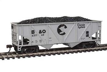 Mantua Classics HO Baltimore and Ohio Railroad 36' hopper with coal load