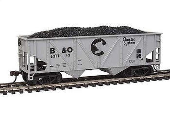 Mantua Classics HO Baltimore and Ohio Railroad 36' hopper with coal load