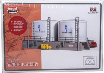 Model Power twin oil tanks HO scale building kit 308