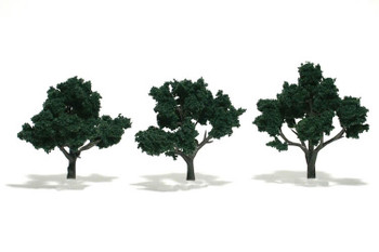 Woodland Scenics realistic 3 to 4 inch dark green trees TR1508