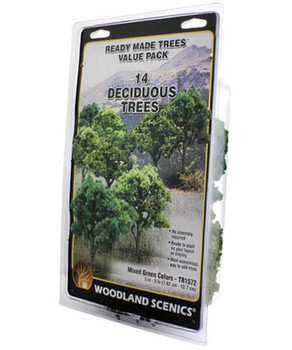 Woodland Scenics realistic 3 to 5 inch mixed green trees value pack TR1572