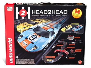 Auto World Head 2 Head American Supercar Challenge HO scale race set SRS324