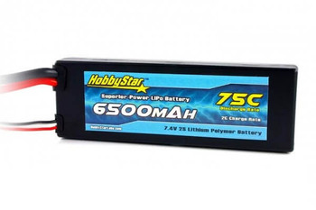 HobbyStar 2S 7.4V 6500mAh 75C hard case LiPo battery