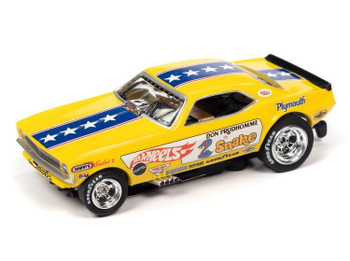 "Auto World 4Gear 1970 Plymouth Cuda Don ""The Snake"" Prudhomme HO slot car"