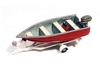 JL Innovative fishing boat and trailer HO scale 455