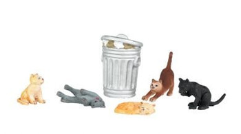 Bachmann Scene Scapes five cats w/ garbage can HO scale figures 33107