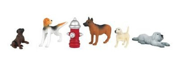 Bachmann Scene Scapes five dogs w/ fire hydrant HO scale 33108