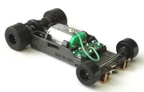 AFX Mega-G+ long rolling chassis for AFX 1.7 inch wheelbase HO scale slot car bodies
