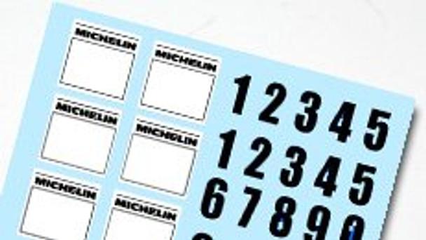 Hobby Slot Racing Rally Number Decal Sheet
