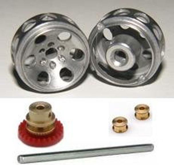 Hobby Slot Racing Rear Axle Kit w/ 15.8 mm Wheels & 26T Crown Gear