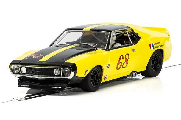 This Scalextric 1971 Roy Woods AMC AMX Javelin Trans Am race car will be right at home on your Carrera Evolution, Scalextric or other analog 1:32 slot car compatible electric race car track.