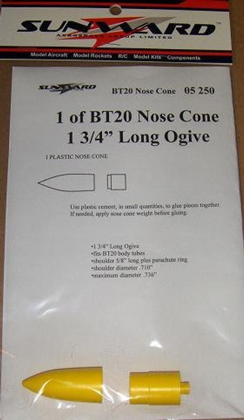 Sunward BT20 Nose Cone - 1.750'' Ogive