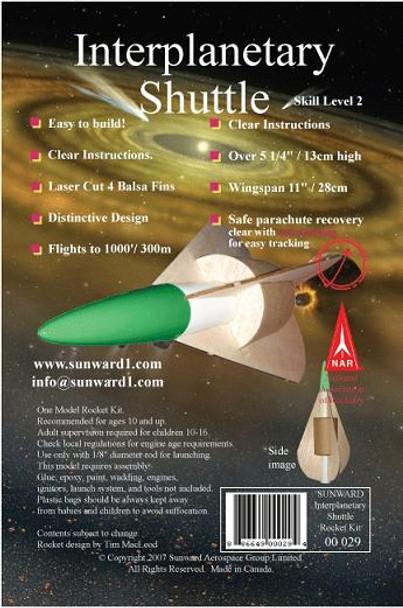 Sunward Interplanetary Shuttle flying model rocket kit header card