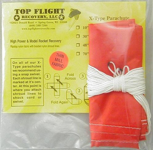 "Top Flight Recovery 30"" thin mill X-type nylon parachute XTPAR-30TM"