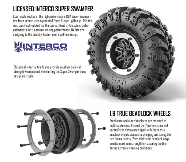 Redcat Racing Everest Gen7 PRO licensed Interco super swamper tires mounted on 1.9 true beadlock wheels