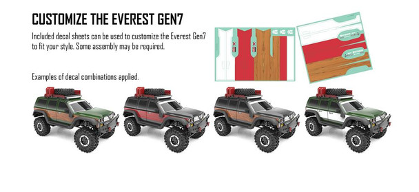 Redcat Racing Everest Gen7 PRO includes decal sheets to customize the body to fit your style