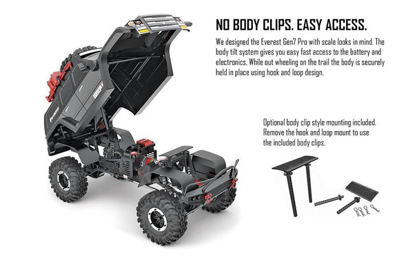 Redcat designed the Everest Gen7 Pro with scale looks in mind. The body tilt system gives you easy, fast access to the battery and electronics.