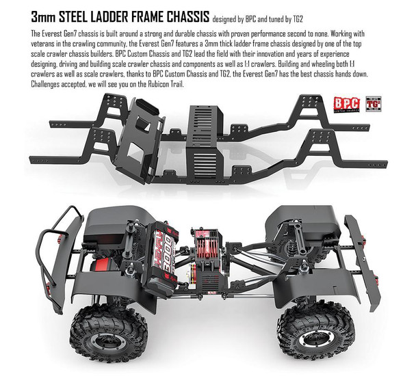 Working with veterans in the crawling community, the Everest Gen7 features a 3mm thick ladder frame chassis designed by one of the top scale crawler chassis builders.