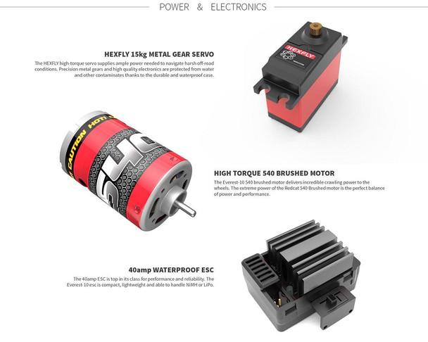 Redcat Racing Everest-10 motor, ESC & servo