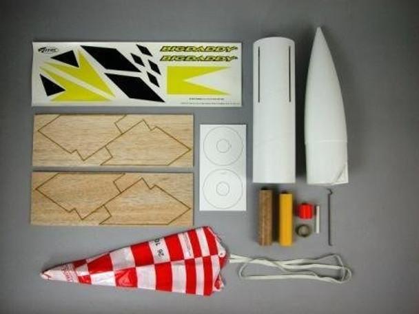 Estes Big Daddy model rocket kit components