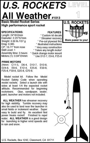 US Rockets All Weather Rocket