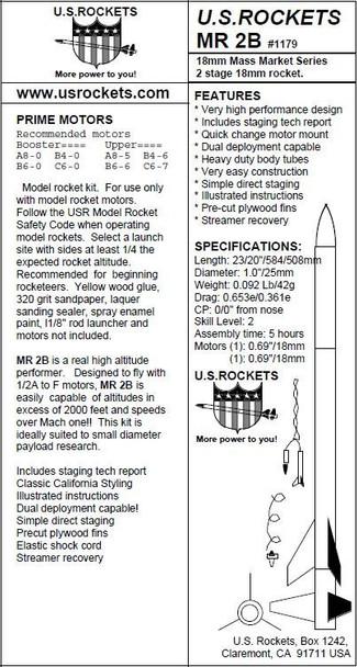 US Rockets MR 2B Model Rocket
