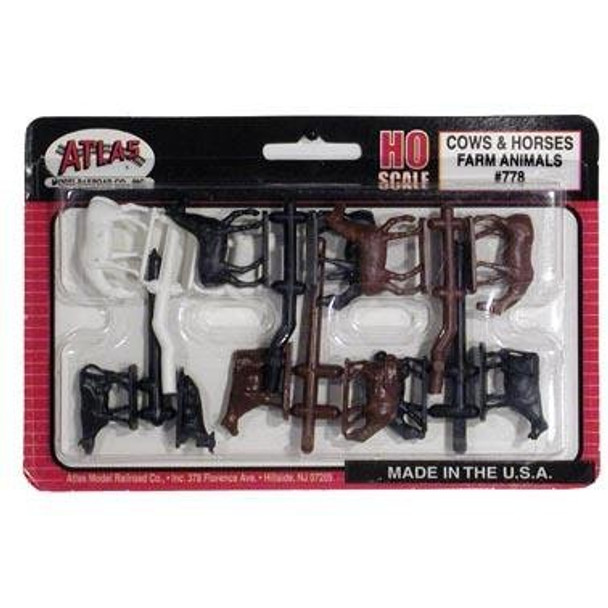 Atlas Farm Animals Cows & Horses HO Scale (12) 778