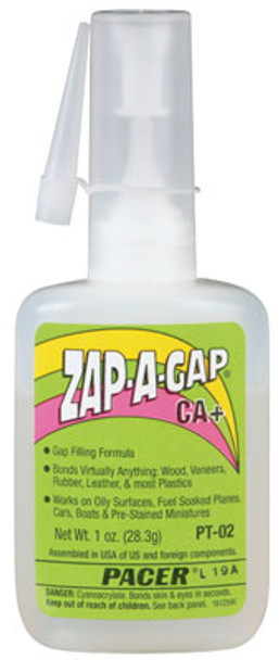 Pacer ZAP-A-GAP CA+ super glue bottle PT-02
