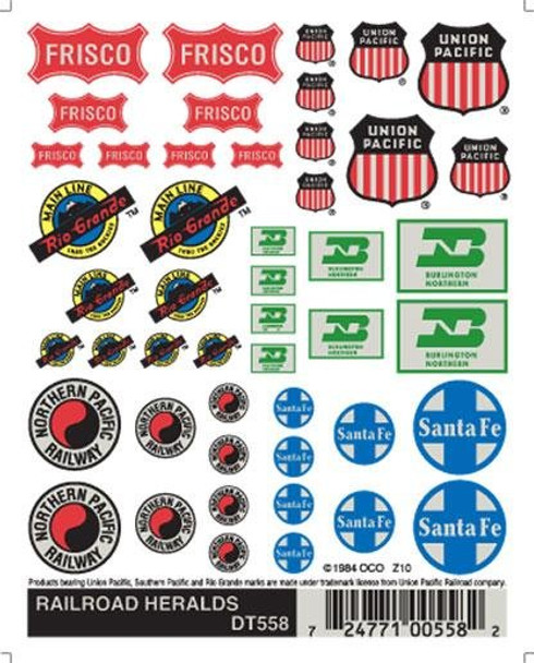 Woodland Scenics Dry Transfer Decals Railroad Heralds #DT558
