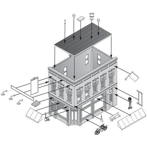 Woodland Scenics Main Street Mercantile HO scale building kit assembly diagram