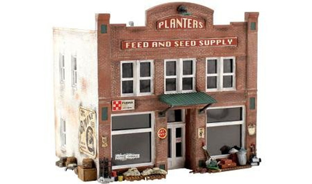 Woodland Scenics Planters Feed & Seed Supply Pre-Fab HO Building Kit