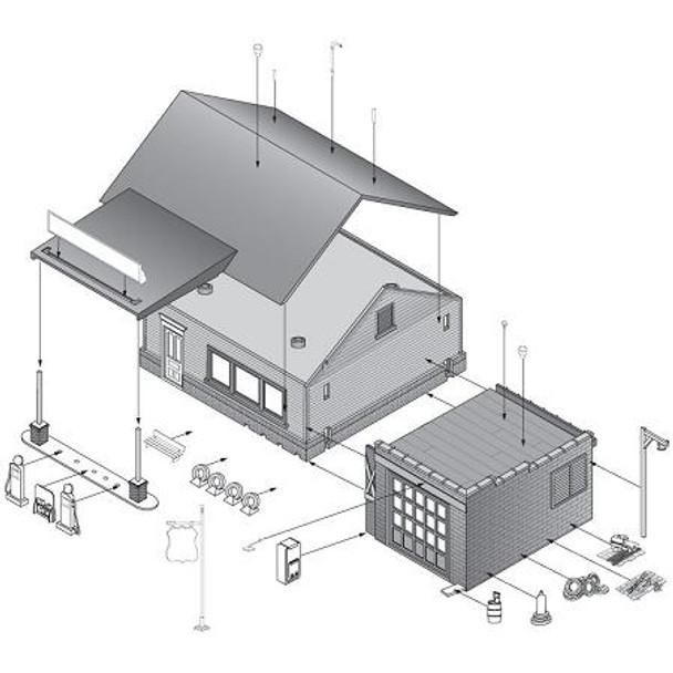 Woodland Scenics Sonny's Super Service HO scale Pre-Fab building kit contents