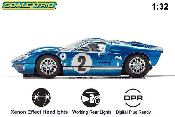 Scalextric Ford GT40 MKII Sebring 1/32 slot car side view