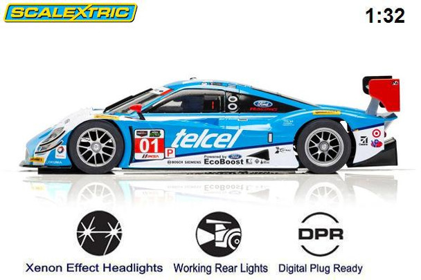 Scalextric Ford Daytona Prototype 12 Hours of Sebring 1/32 slot car side view
