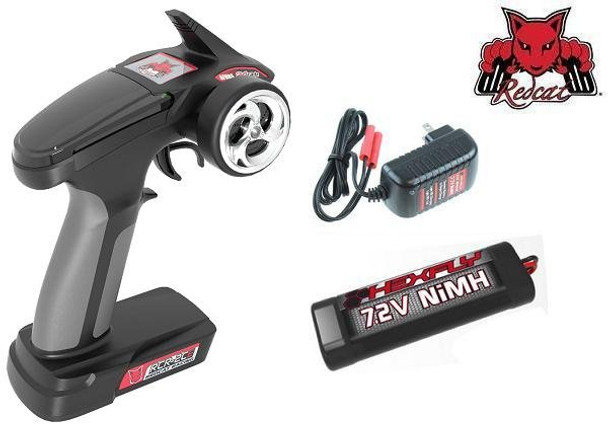 Redcat Racing Blackout SC 2.4Ghz transmitter, NiMH battery and charger